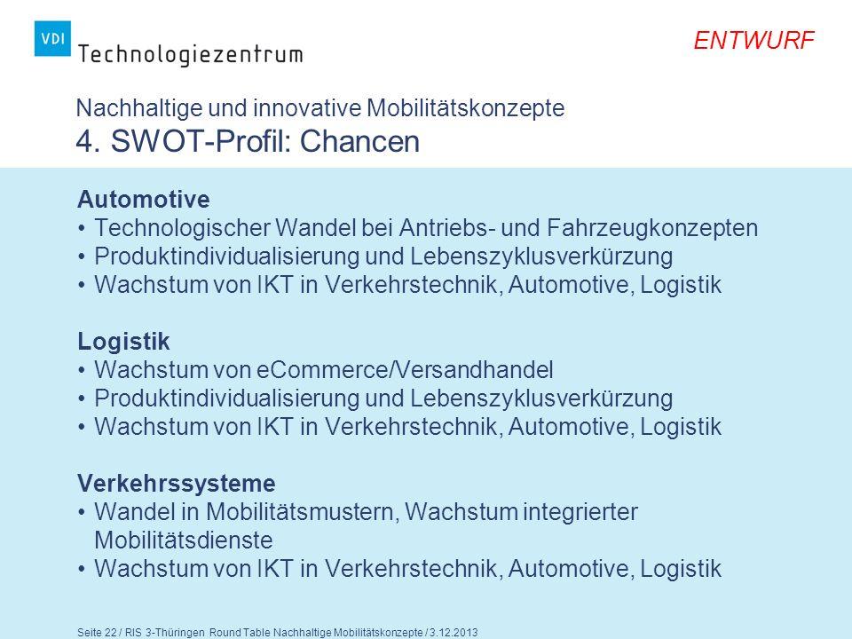 Nachhaltige und innovative Mobilitätskonzepte 4. SWOT-Profil: Chancen