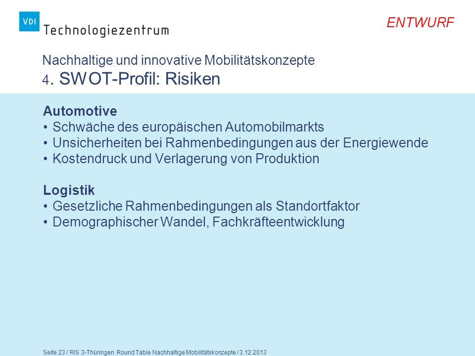Nachhaltige und innovative Mobilitätskonzepte 4. SWOT-Profil: Risiken