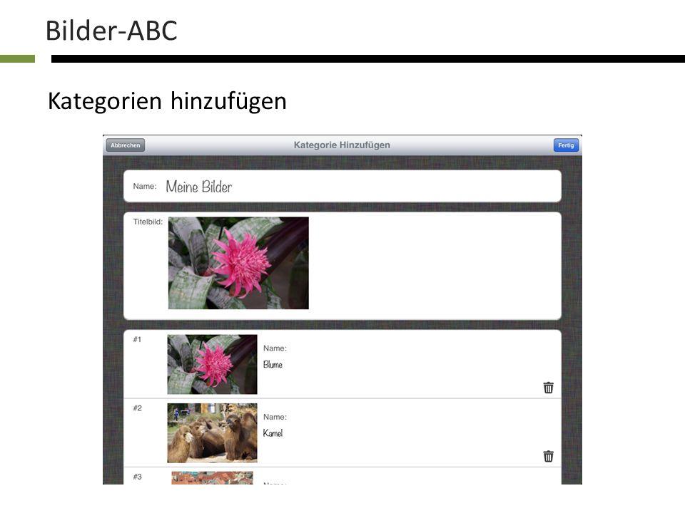 Bilder-ABC Kategorien hinzufügen