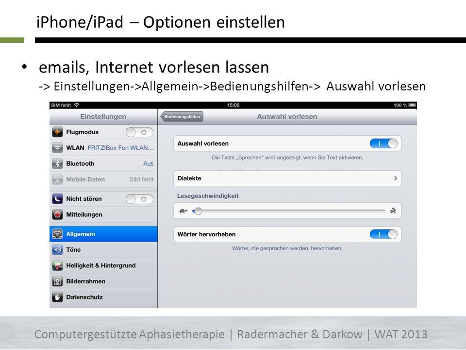 iPhone/iPad – Optionen einstellen