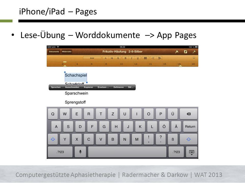 Lese-Übung – Worddokumente –> App Pages