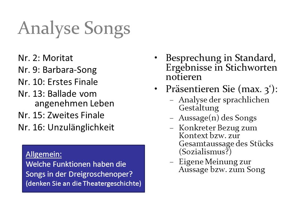 Analyse Songs