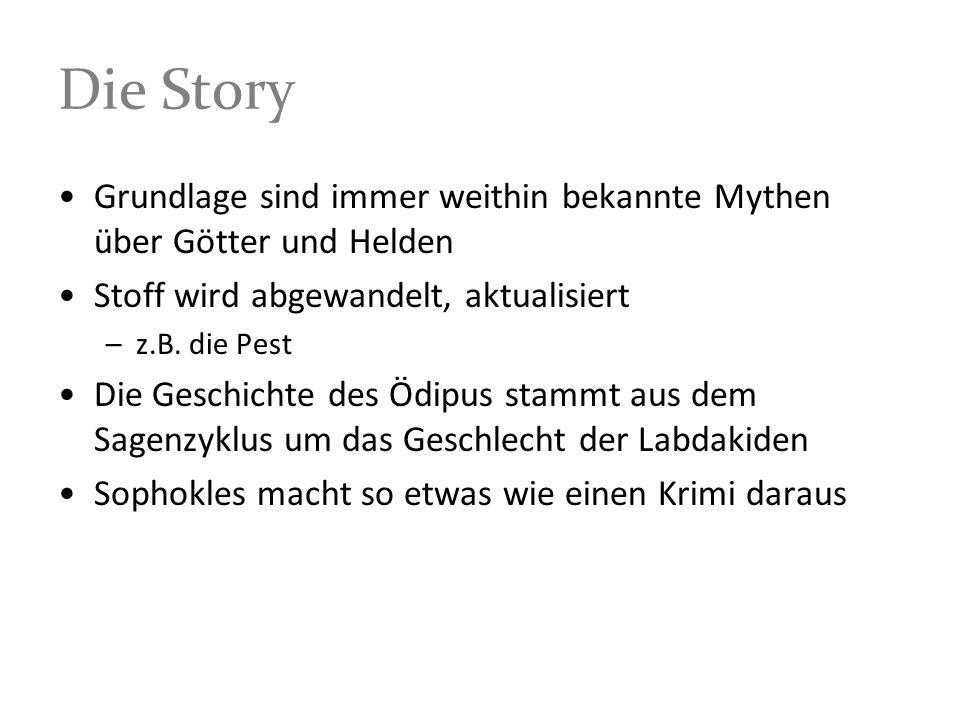 Die StoryGrundlage sind immer weithin bekannte Mythen über Götter und Helden. Stoff wird abgewandelt, aktualisiert.