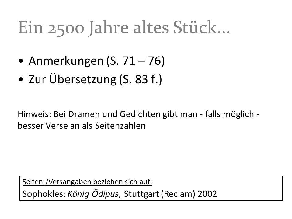 Ein 2500 Jahre altes Stück... Anmerkungen (S. 71 – 76)
