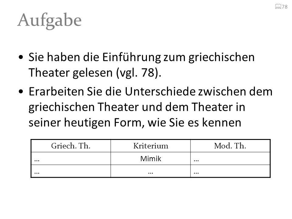 Aufgabe78. Sie haben die Einführung zum griechischen Theater gelesen (vgl. 78).