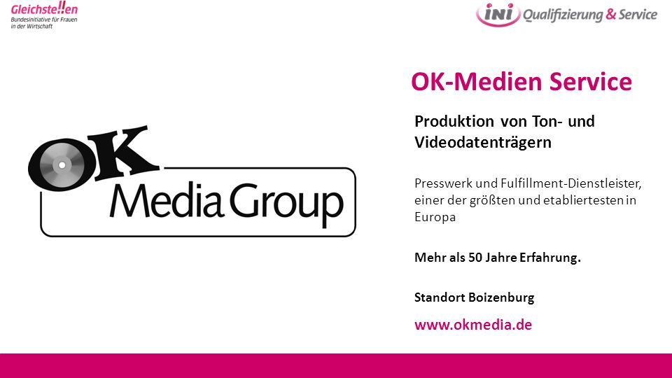 OK-Medien Service Produktion von Ton- und Videodatenträgern
