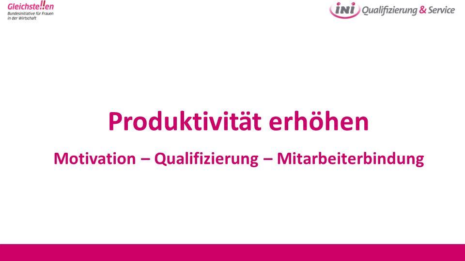 Produktivität erhöhen Motivation – Qualifizierung – Mitarbeiterbindung