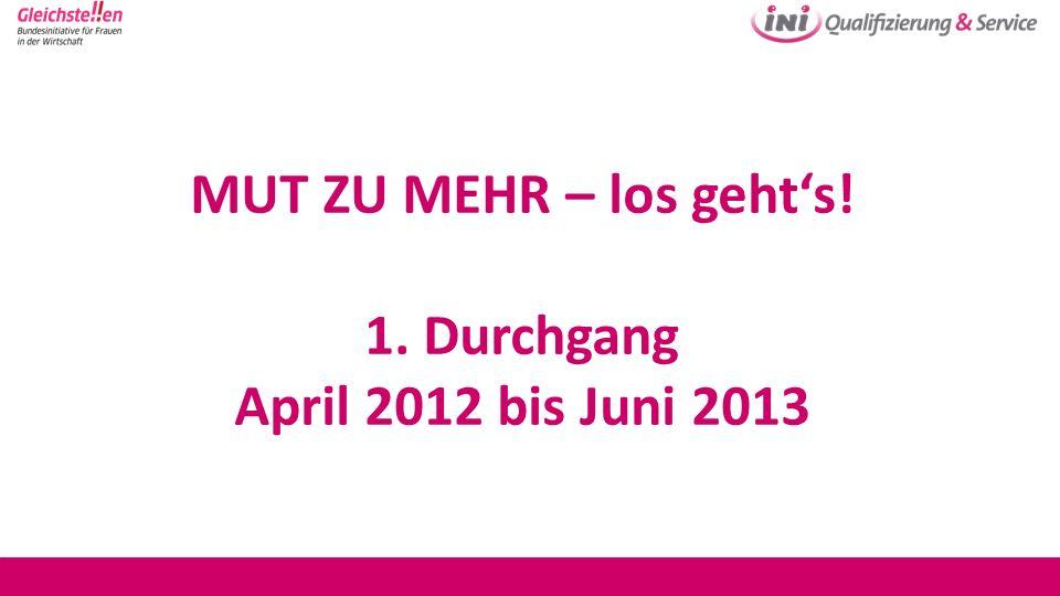 MUT ZU MEHR – los geht's! 1. Durchgang April 2012 bis Juni 2013