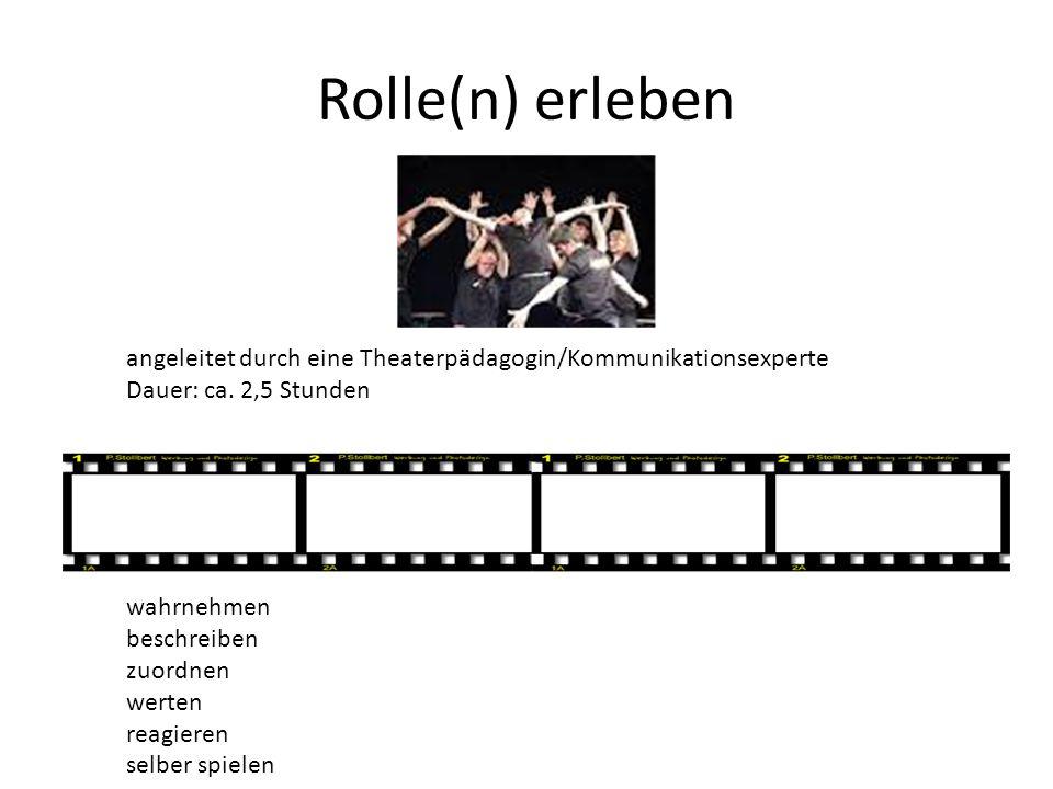 Rolle(n) erleben angeleitet durch eine Theaterpädagogin/Kommunikationsexperte. Dauer: ca. 2,5 Stunden.