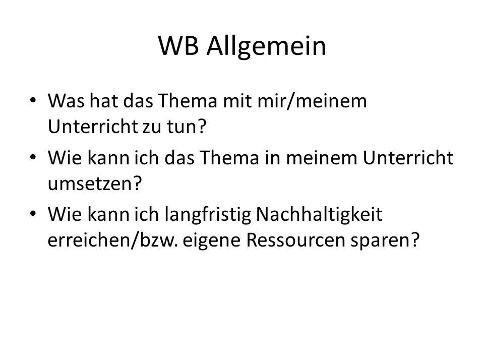 WB Allgemein Was hat das Thema mit mir/meinem Unterricht zu tun