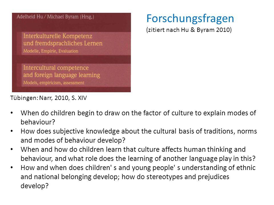 Forschungsfragen (zitiert nach Hu & Byram 2010) Tübingen: Narr, 2010, S. XIV.