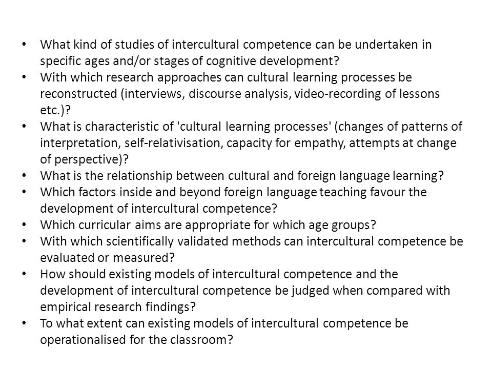 What kind of studies of intercultural competence can be undertaken in specific ages and/or stages of cognitive development