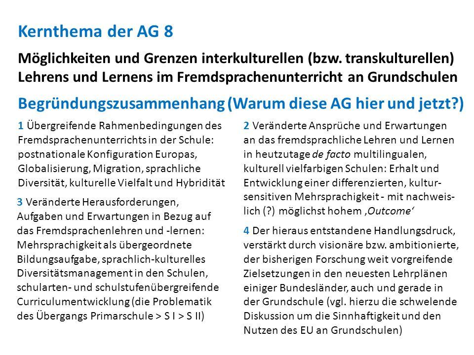 Kernthema der AG 8 Möglichkeiten und Grenzen interkulturellen (bzw. transkulturellen) Lehrens und Lernens im Fremdsprachenunterricht an Grundschulen.