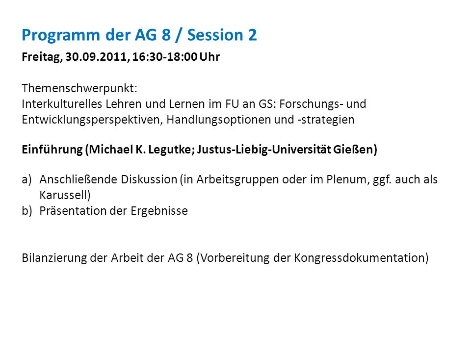Programm der AG 8 / Session 2