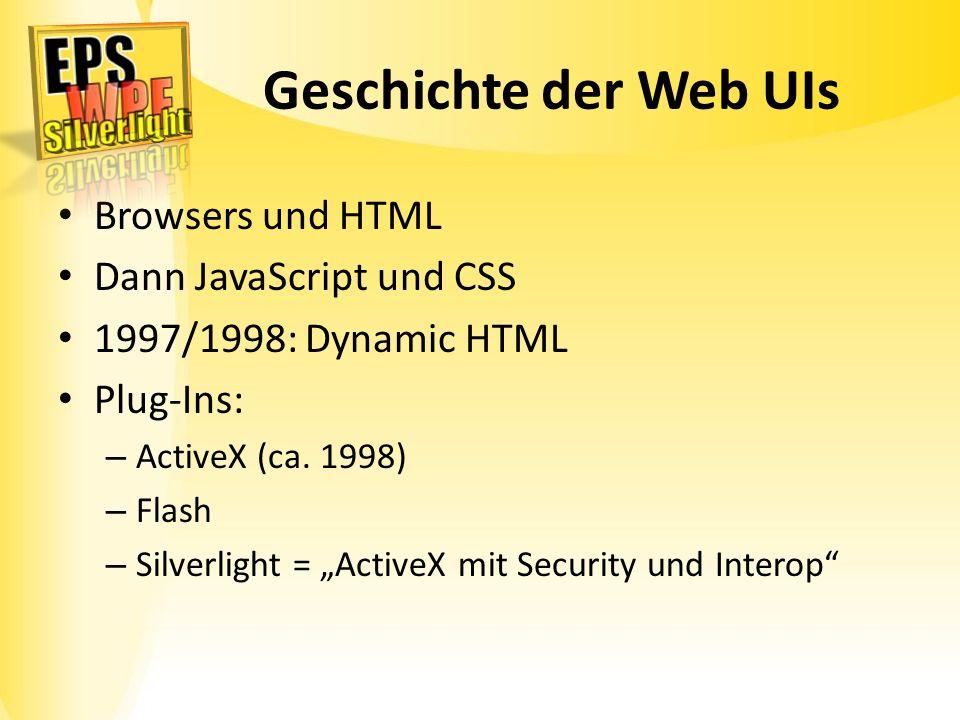 Geschichte der Web UIs Browsers und HTML Dann JavaScript und CSS