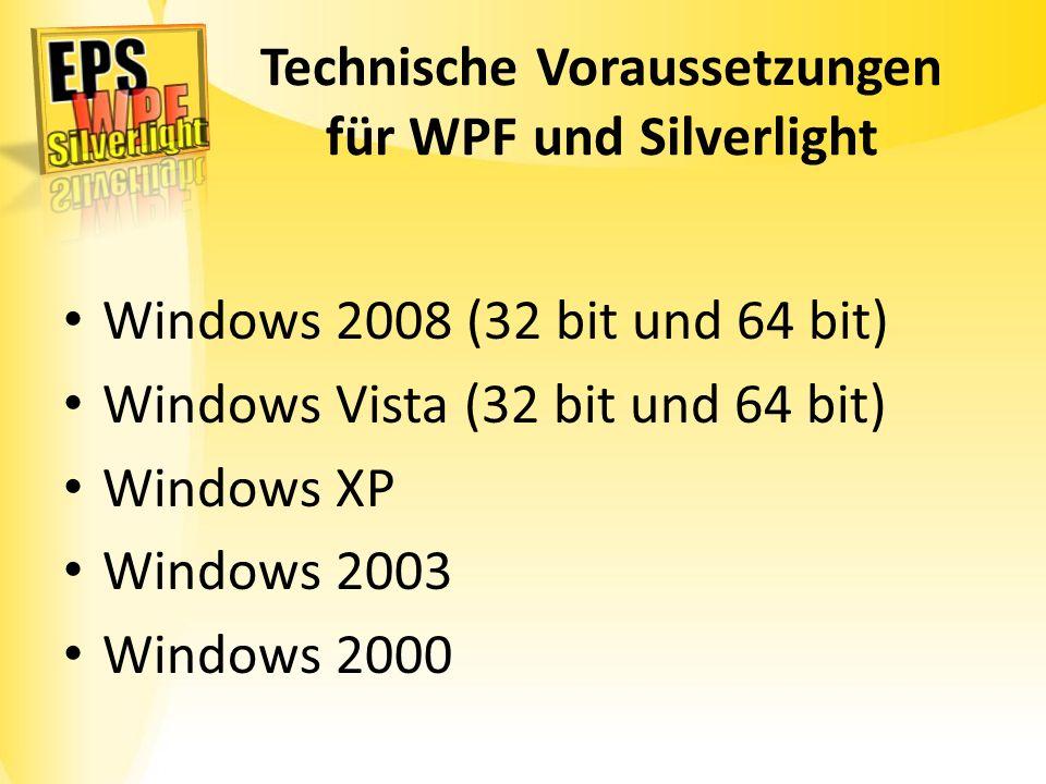 Technische Voraussetzungen für WPF und Silverlight