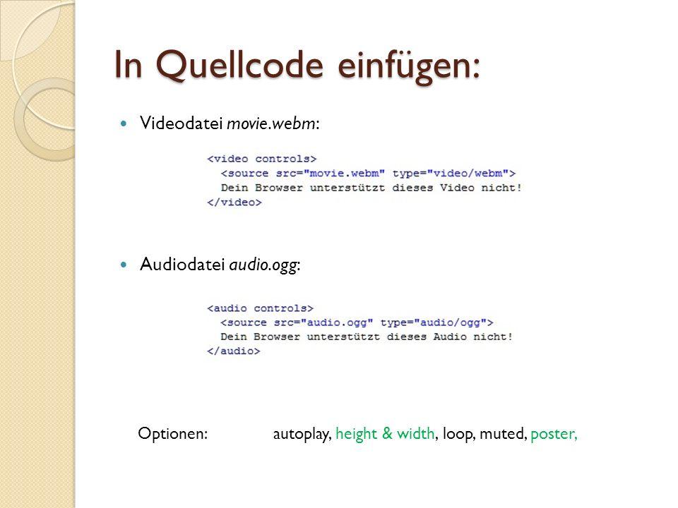 In Quellcode einfügen: