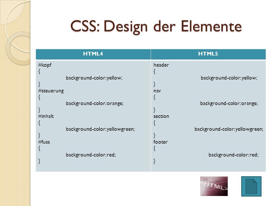 CSS: Design der Elemente