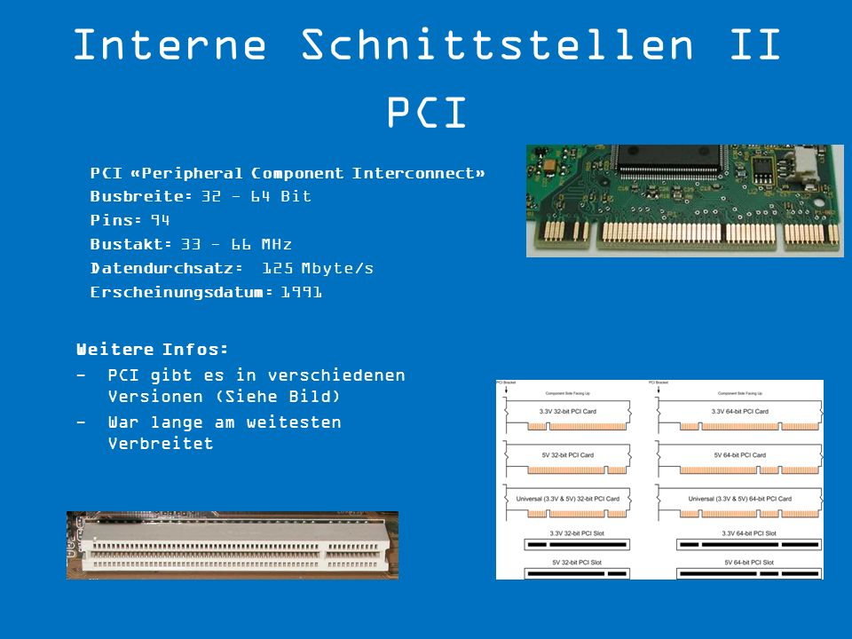 Interne Schnittstellen II PCI