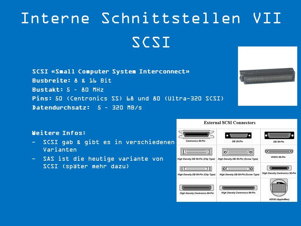Interne Schnittstellen VII SCSI