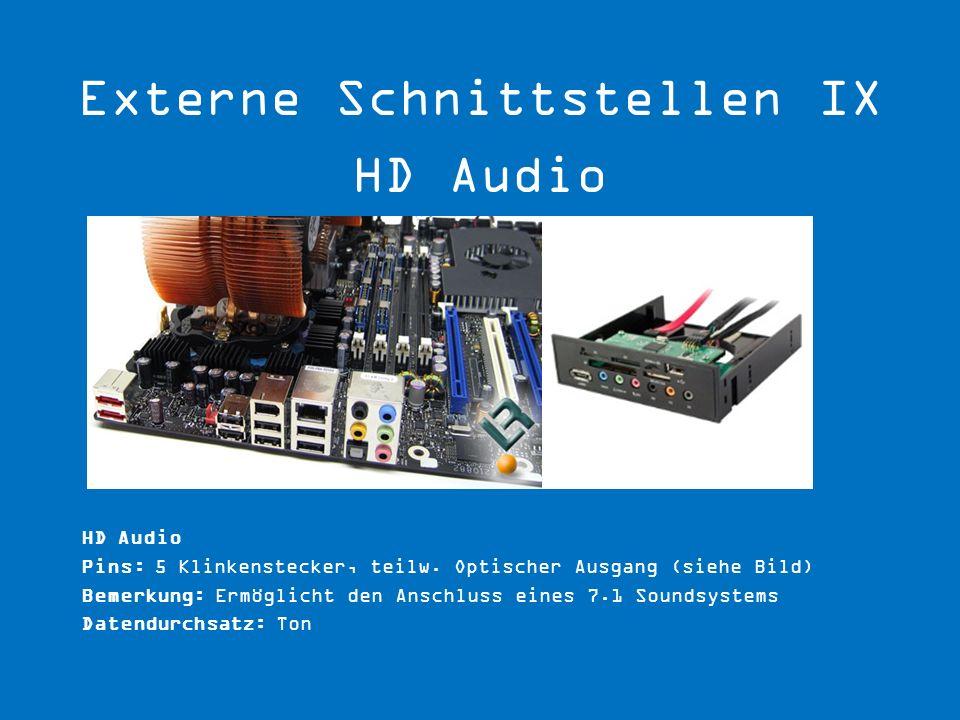 Externe Schnittstellen IX HD Audio