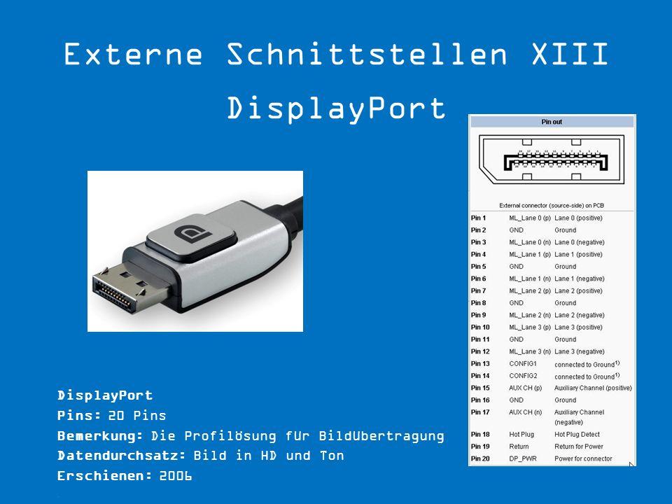 Externe Schnittstellen XIII DisplayPort
