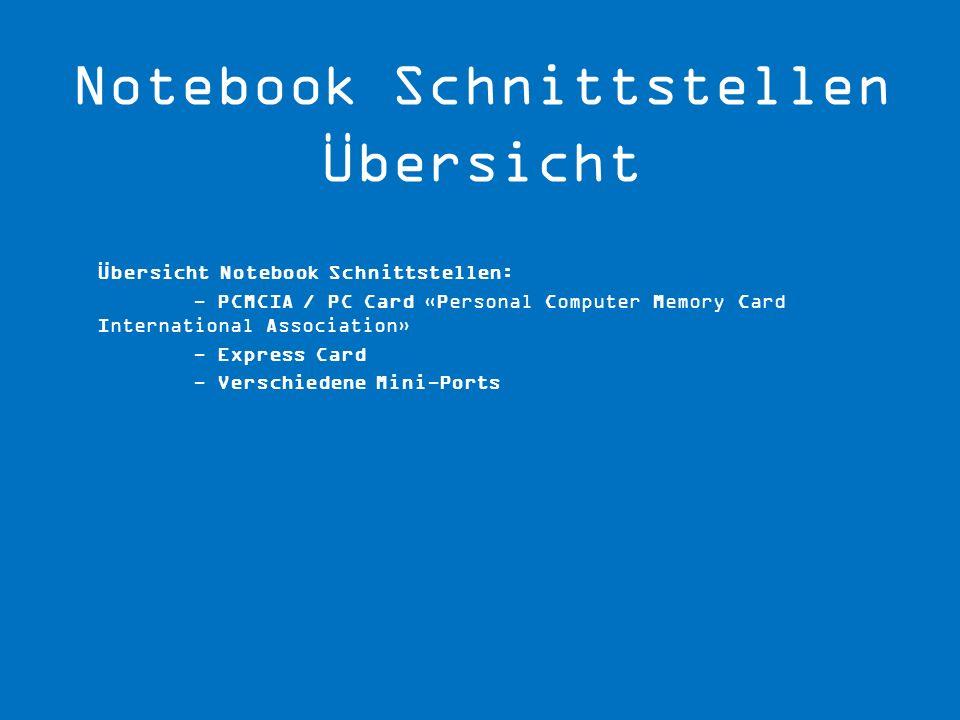 Notebook Schnittstellen Übersicht