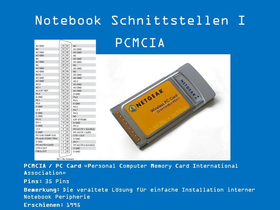 Notebook Schnittstellen I PCMCIA