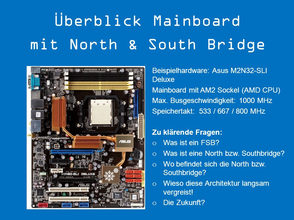 Überblick Mainboard mit North & South Bridge