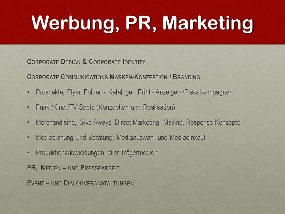 Werbung, PR, Marketing Corporate Design & Corporate Identity
