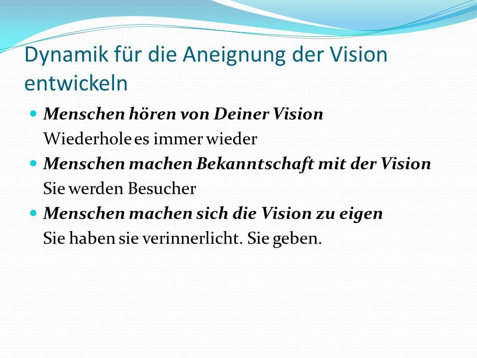 Dynamik für die Aneignung der Vision entwickeln