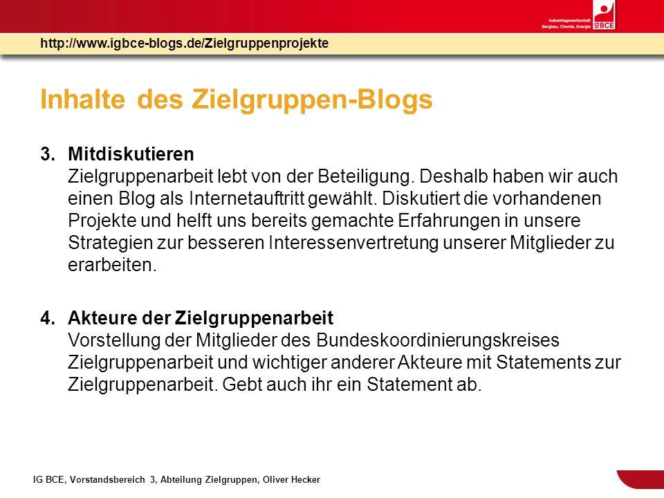 Inhalte des Zielgruppen-Blogs