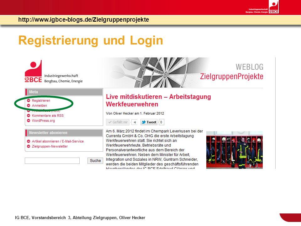 Registrierung und Login