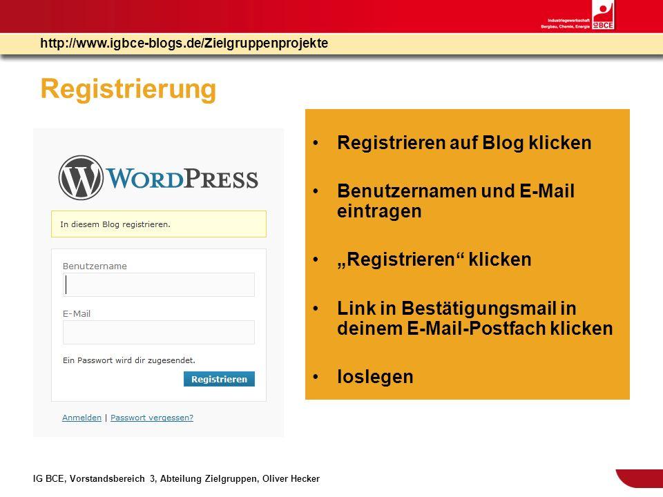 Registrierung Registrieren auf Blog klicken