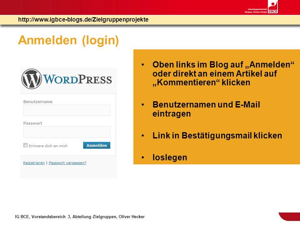 """Anmelden (login) Oben links im Blog auf """"Anmelden oder direkt an einem Artikel auf """"Kommentieren klicken."""