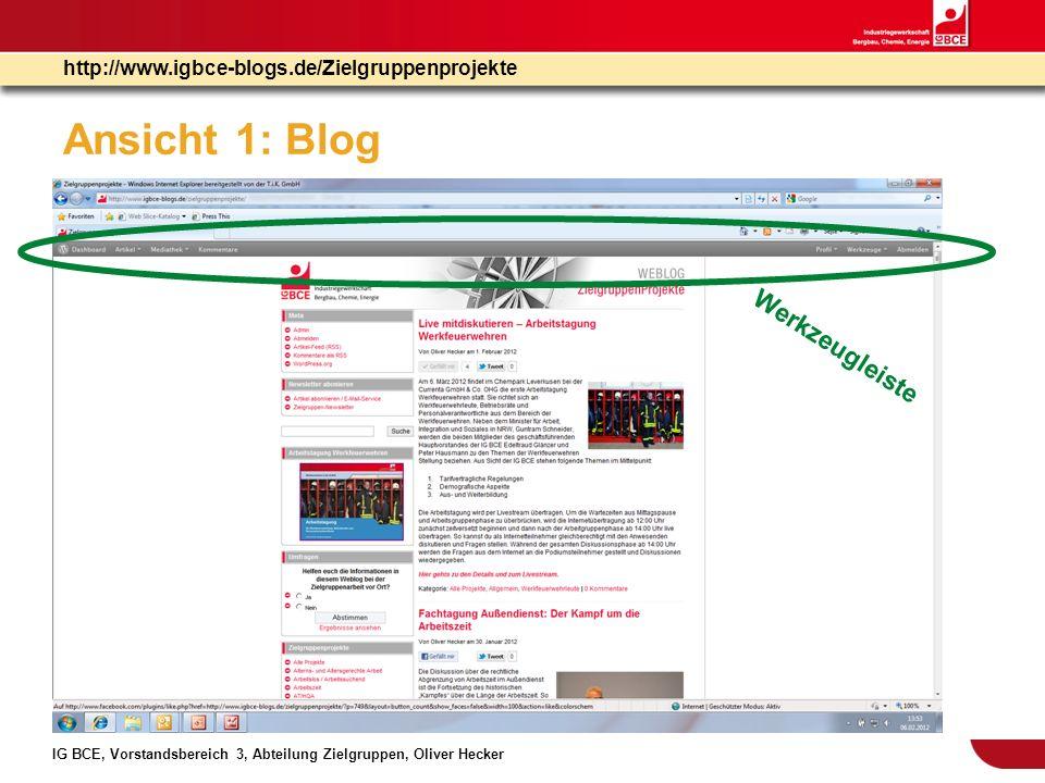 Ansicht 1: Blog Werkzeugleiste