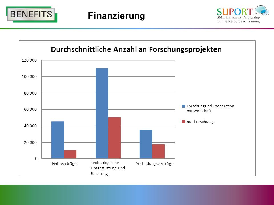 Finanzierung Durchschnittliche Anzahl an Forschungsprojekten 20.000