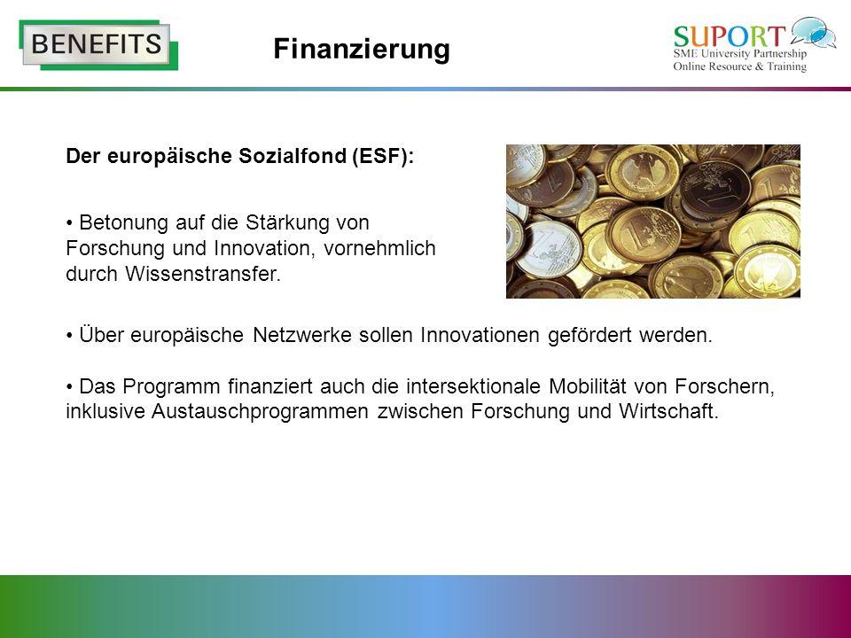 Finanzierung Der europäische Sozialfond (ESF):