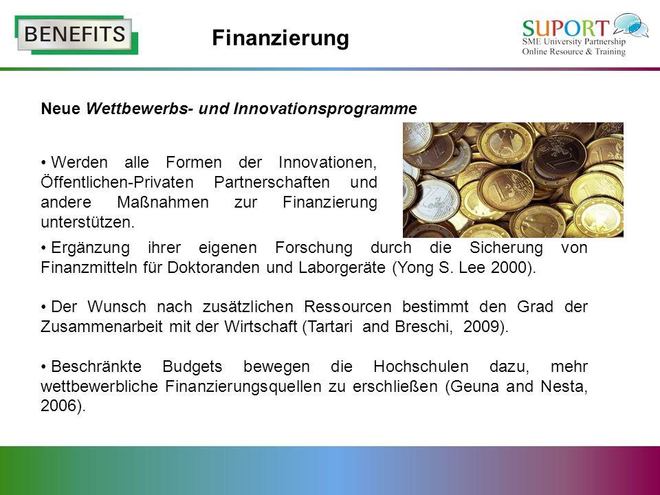 Finanzierung Neue Wettbewerbs- und Innovationsprogramme
