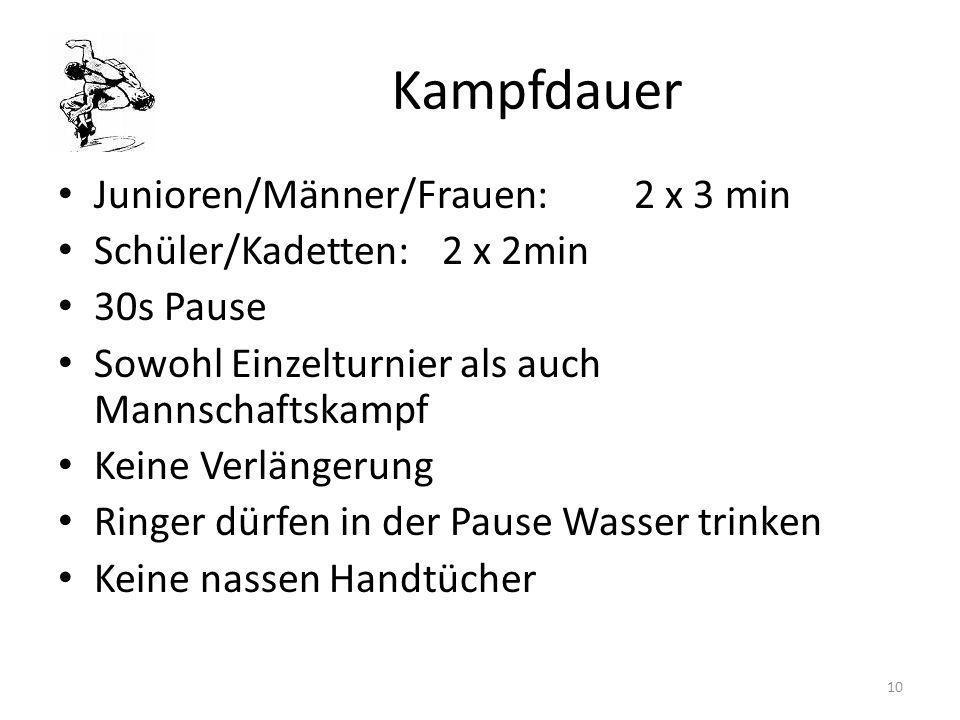 Kampfdauer Junioren/Männer/Frauen: 2 x 3 min