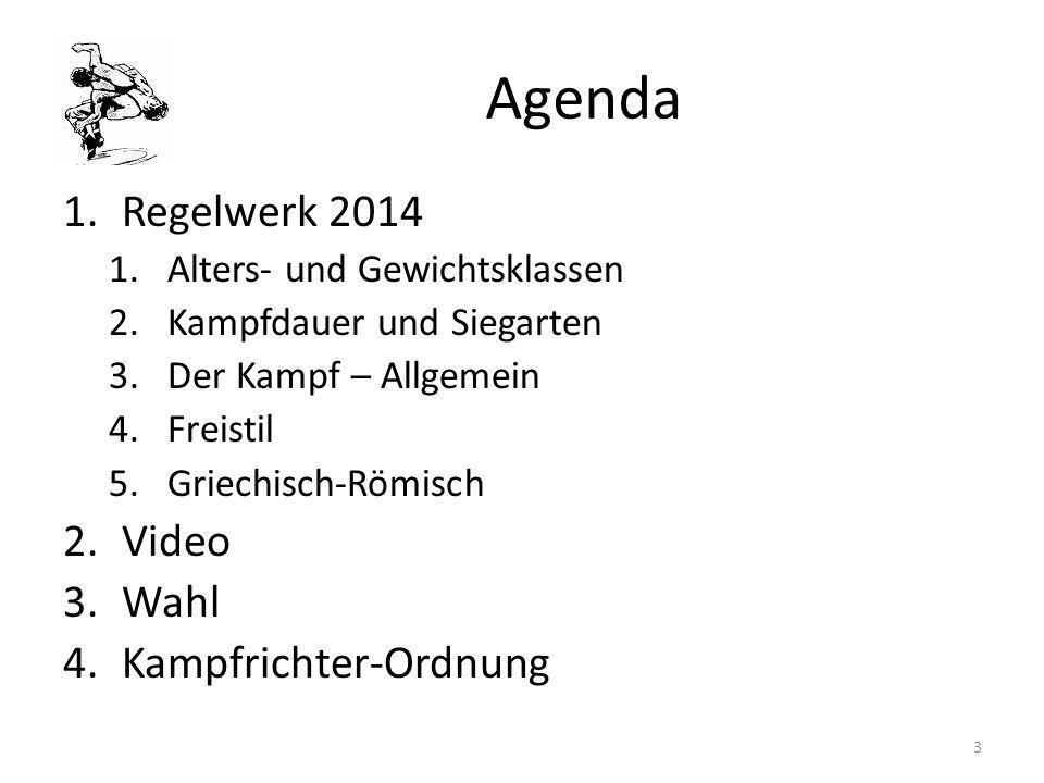 Agenda Regelwerk 2014 Video Wahl Kampfrichter-Ordnung