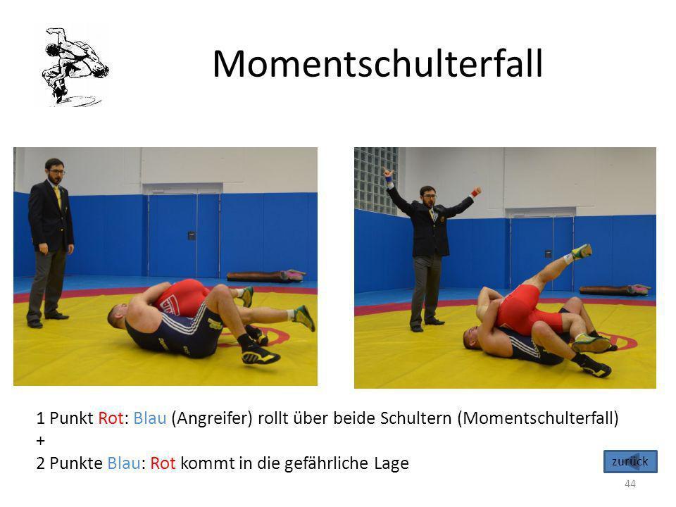 Momentschulterfall 1 Punkt Rot: Blau (Angreifer) rollt über beide Schultern (Momentschulterfall) +