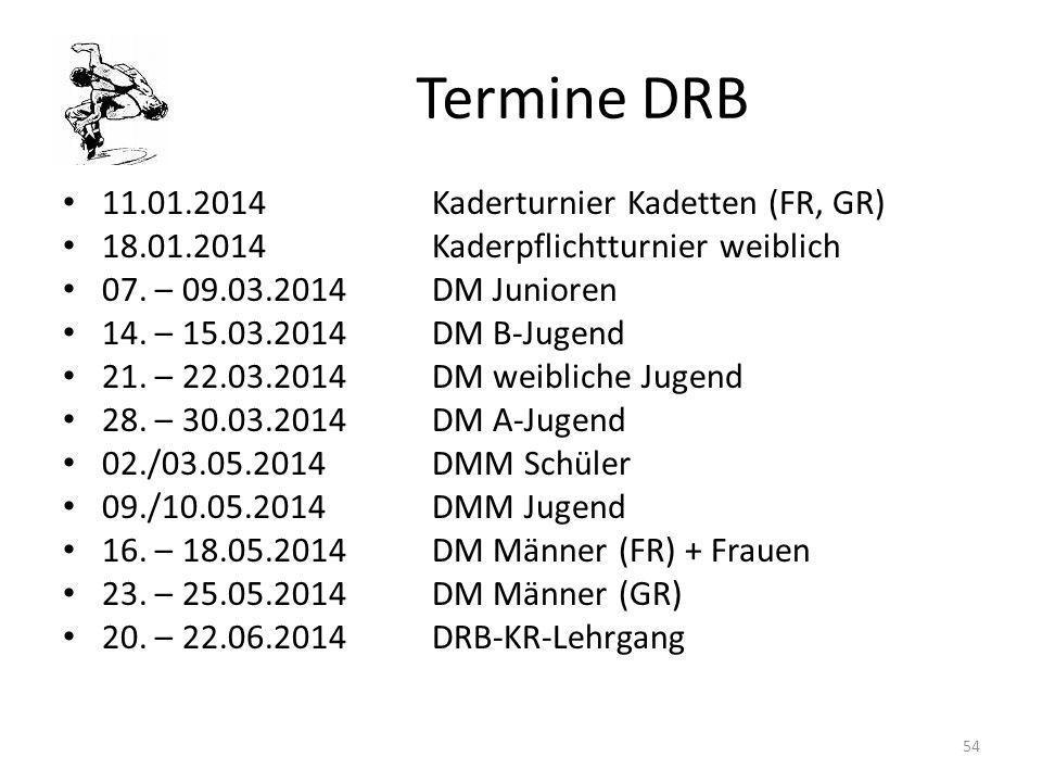 Termine DRB 11.01.2014 Kaderturnier Kadetten (FR, GR)