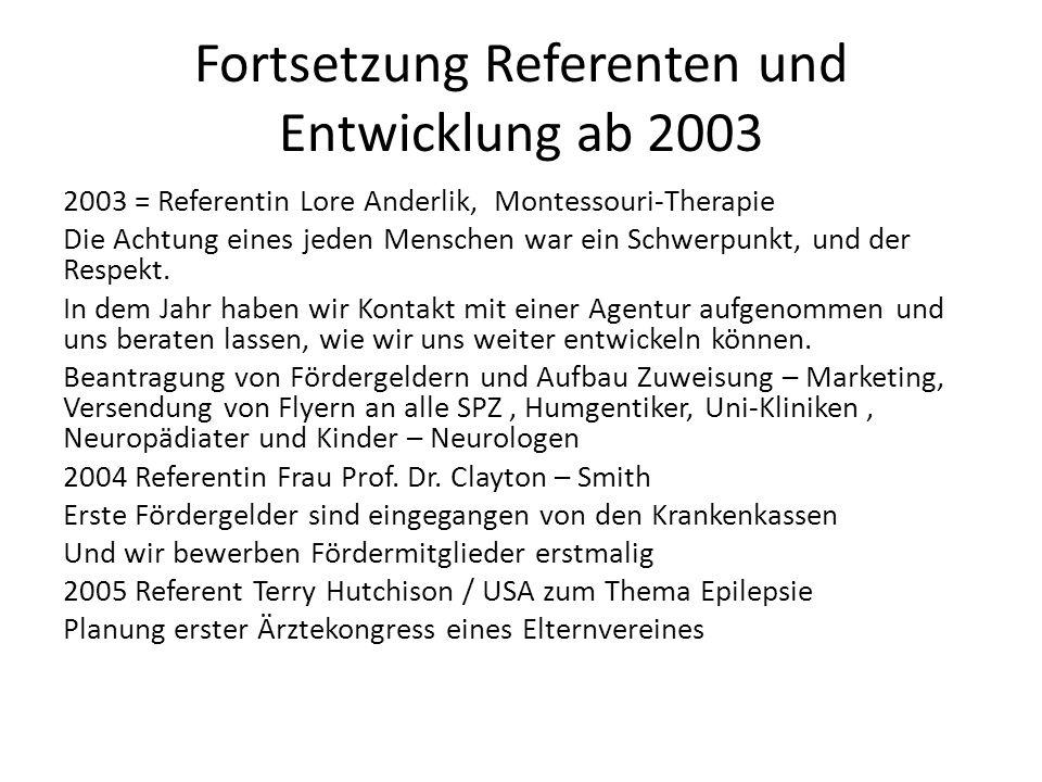 Fortsetzung Referenten und Entwicklung ab 2003