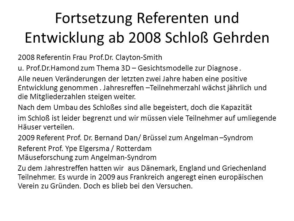 Fortsetzung Referenten und Entwicklung ab 2008 Schloß Gehrden