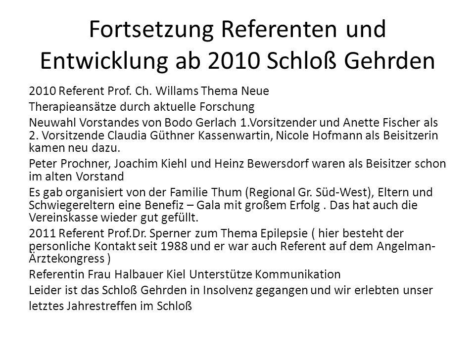 Fortsetzung Referenten und Entwicklung ab 2010 Schloß Gehrden
