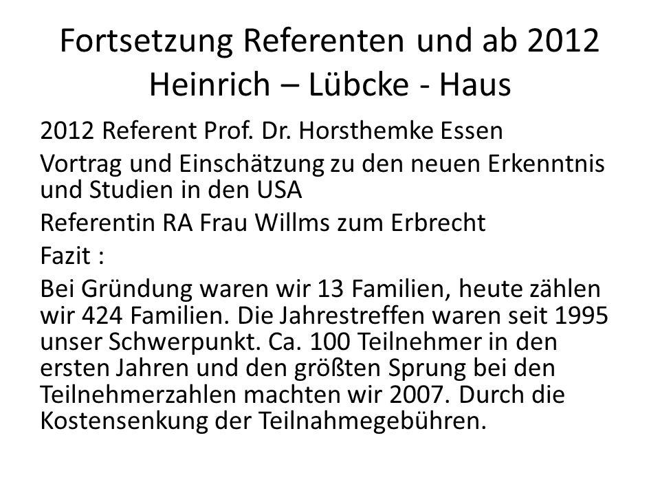 Fortsetzung Referenten und ab 2012 Heinrich – Lübcke - Haus