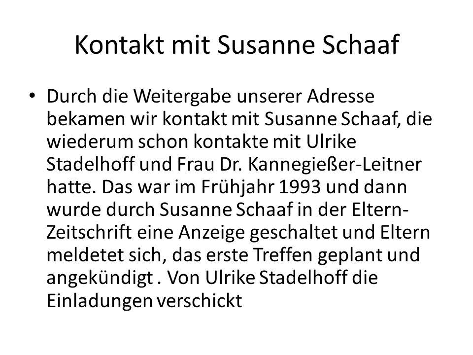 Kontakt mit Susanne Schaaf