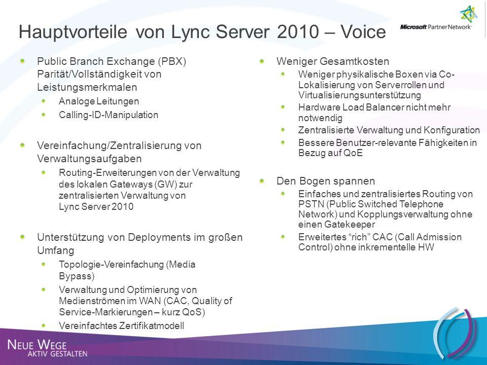 Hauptvorteile von Lync Server 2010 – Voice