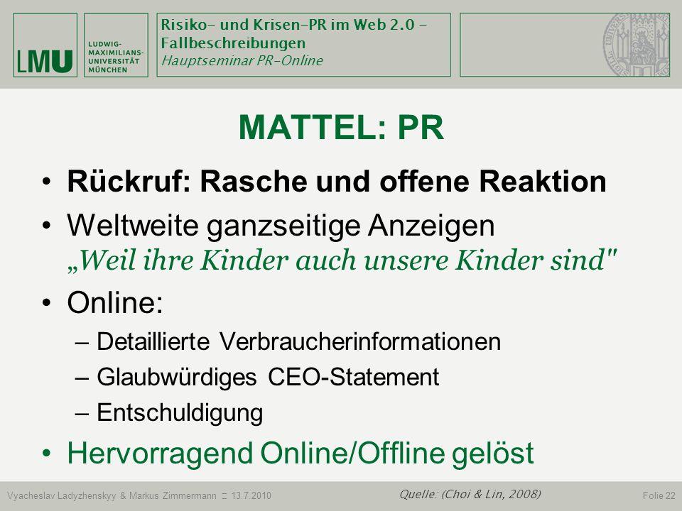 MATTEL: Pr Rückruf: Rasche und offene Reaktion